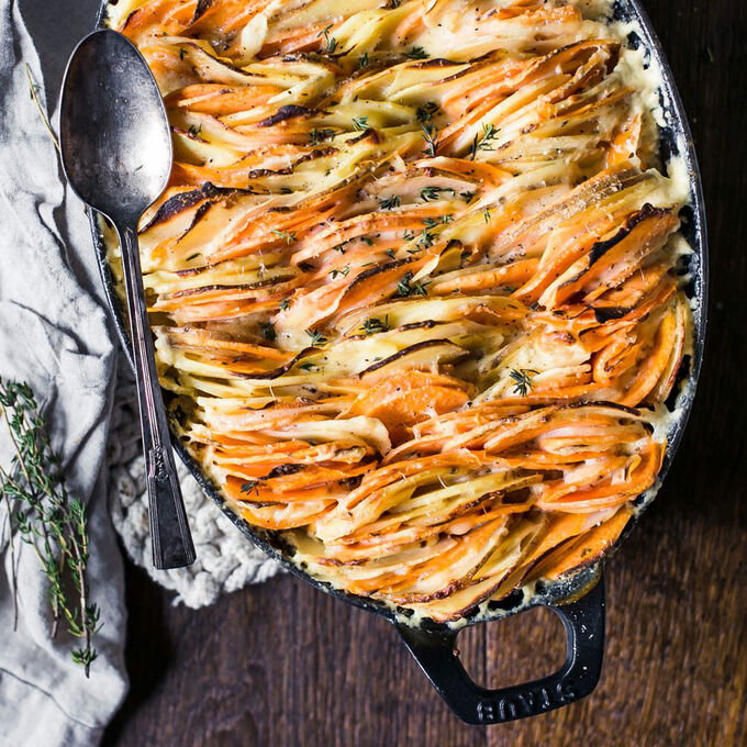Root Vegetable Gratin with Gruyere and Thyme