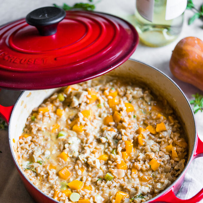 Farro Risotto with Sausage, Fennel and Squash
