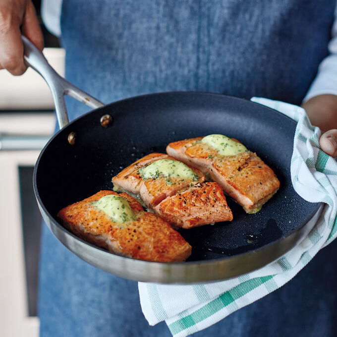 Roasted Salmon with Lentils and Dijon Butter