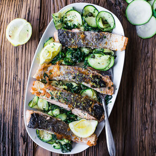 Crispy Salmon on Lemon-Caper Wilted Greens