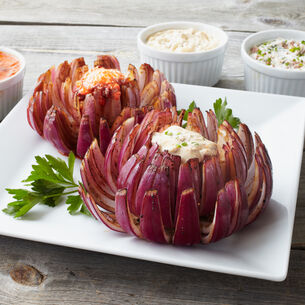 Blossoming Onion with Three Types of Dip