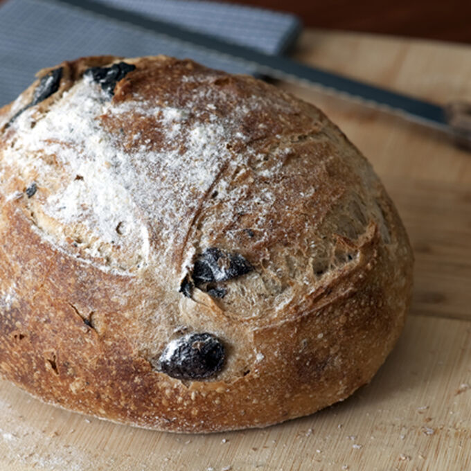 Whole Wheat Country Bread with Olives and Rosemary