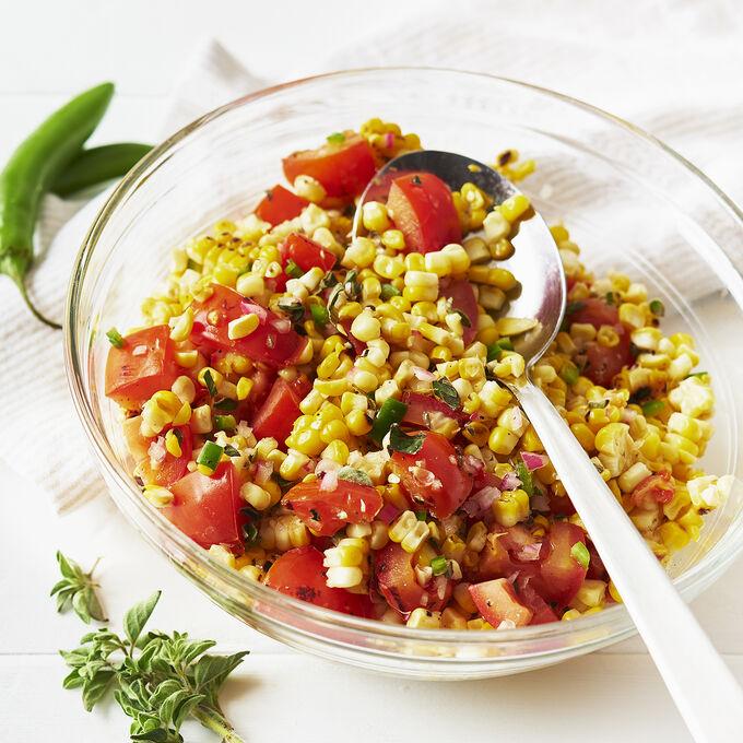 Barbecued Corn and Tomato Salad with Fresh Oregano Vinaigrette
