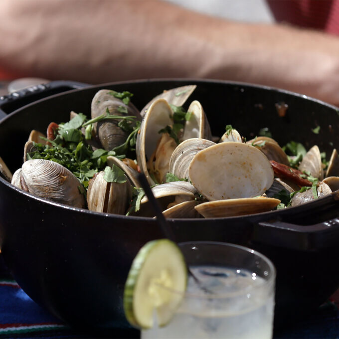 Steamed Clams with Fennel and Chorizo