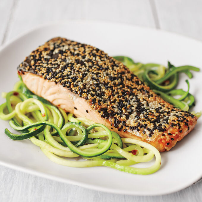 Sesame Crusted Salmon with Zucchini