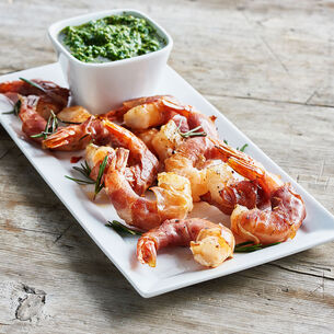Prosciutto-Wrapped Shrimp with Salsa Verde Dipping Sauce