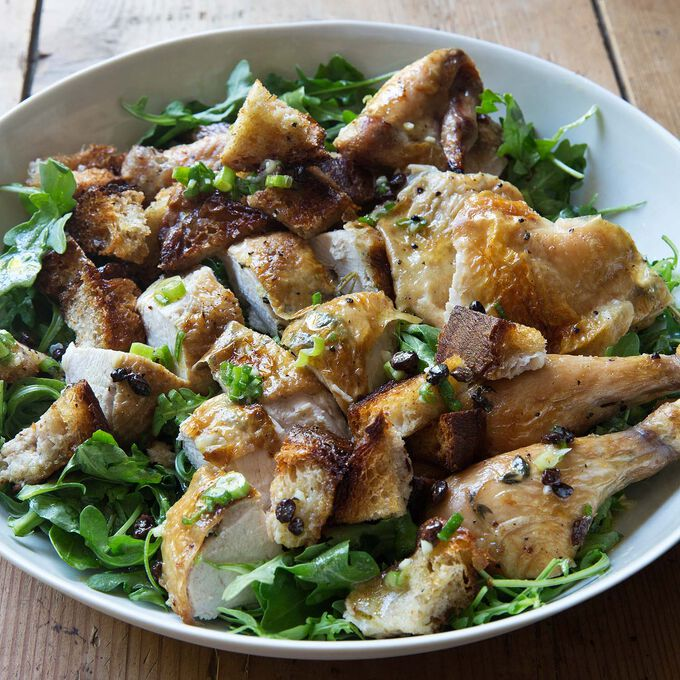 Roast Chicken with Bread and Arugula Salad by Ina Garten