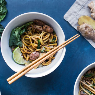 Long Life Noodles with Chicken and Baby Bok Choy