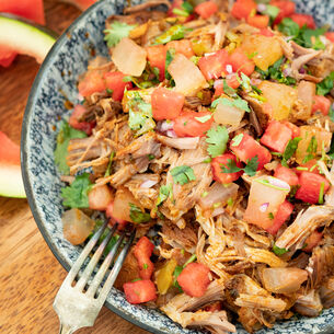 Pulled Pork with Pickled Watermelon Rind Salsa
