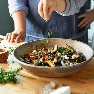 Roasted Acorn Squash and Broccoli Rabe Salad with Ricotta Salata