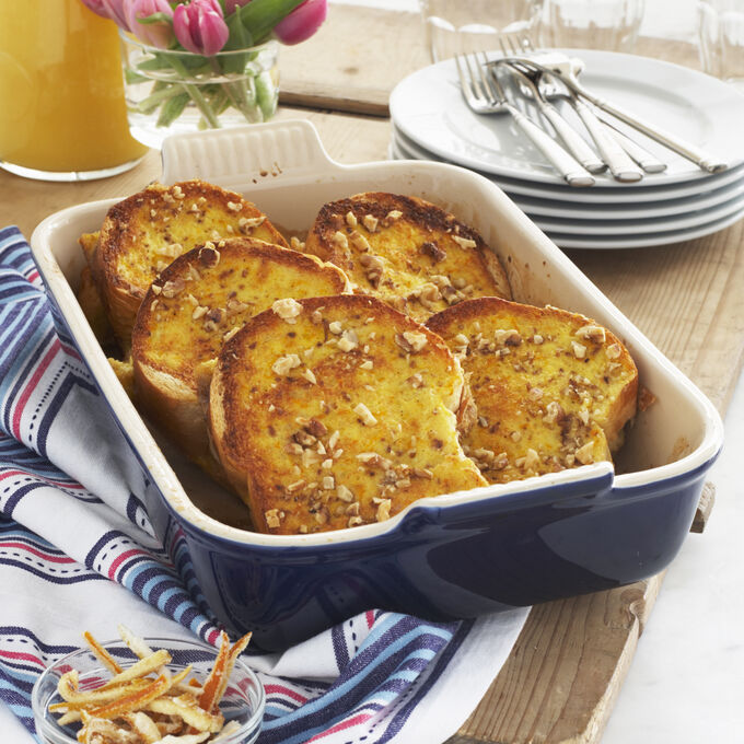 Orange-Scented French Toast Strata with Candied Lemon Zest