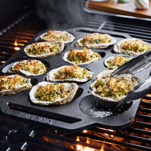 Cast Iron Roasted Oysters with Spinach and Bacon