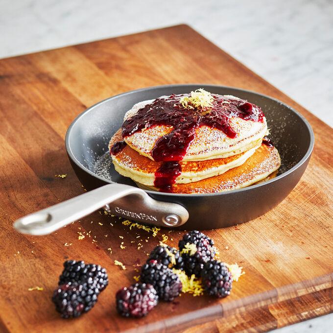 Lemon Ricotta Pancakes with Blackberry Syrup