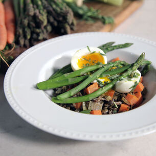 French Lentils with Asparagus and Steamed Eggs