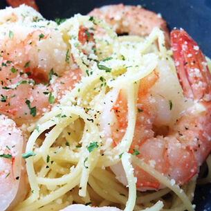 Angel Hair Pasta with Shrimp, Parmesan and Lemon Juice