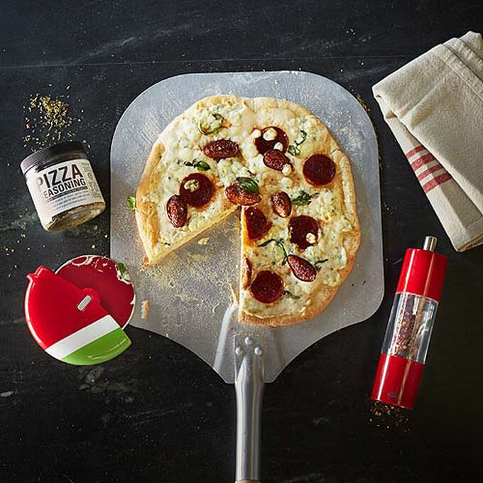 Grilled Sausage and Fig Pizza with Gorgonzola Cheese