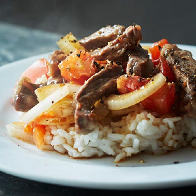 Beef Strips with Tomato and Onion