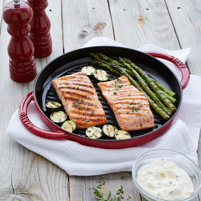 Steam-Grilled Salmon and Vegetables with Tarragon Dip
