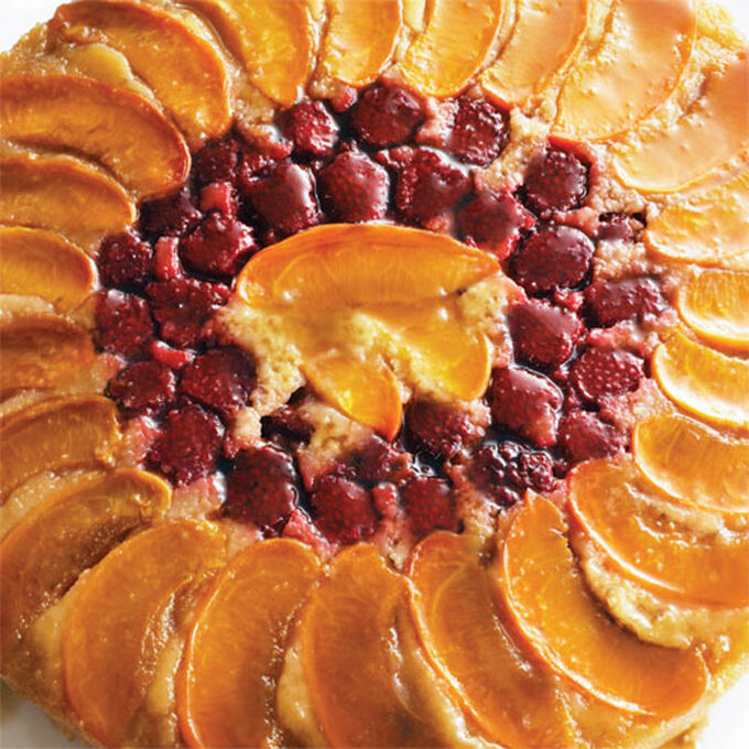 Apricot-Raspberry Upside-Down Cake
