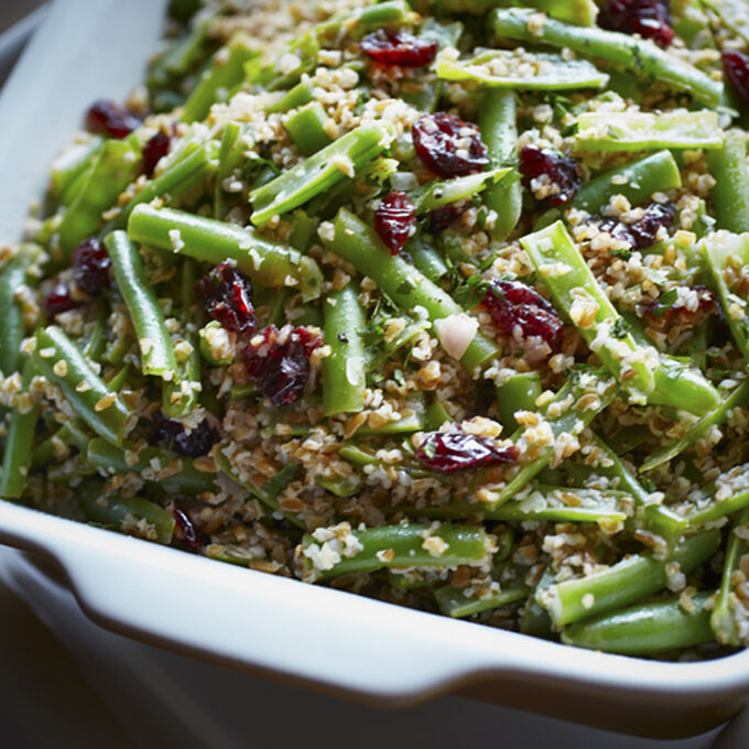 Greenbeans with Bulgur and Cranberries