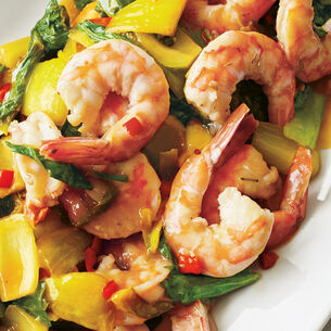 Stir Fried Bok Choy with Shrimp and Oyster Sauce
