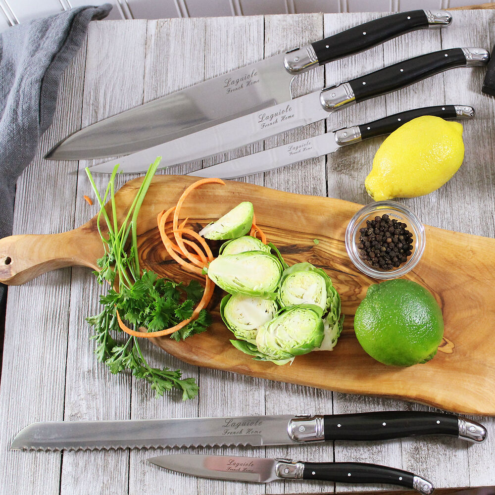 French Home 5-Piece Laguiole Kitchen Knife Set with Magnetic Display