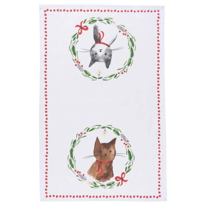 "Jingle Cat Kitchen Towel, 28"" x 18"""