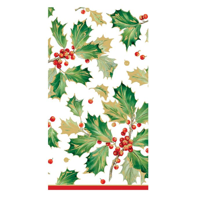 Gilded Holly Guest Napkins, Set of 15
