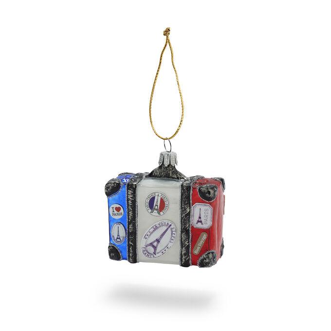 Suitcase Glass Ornament