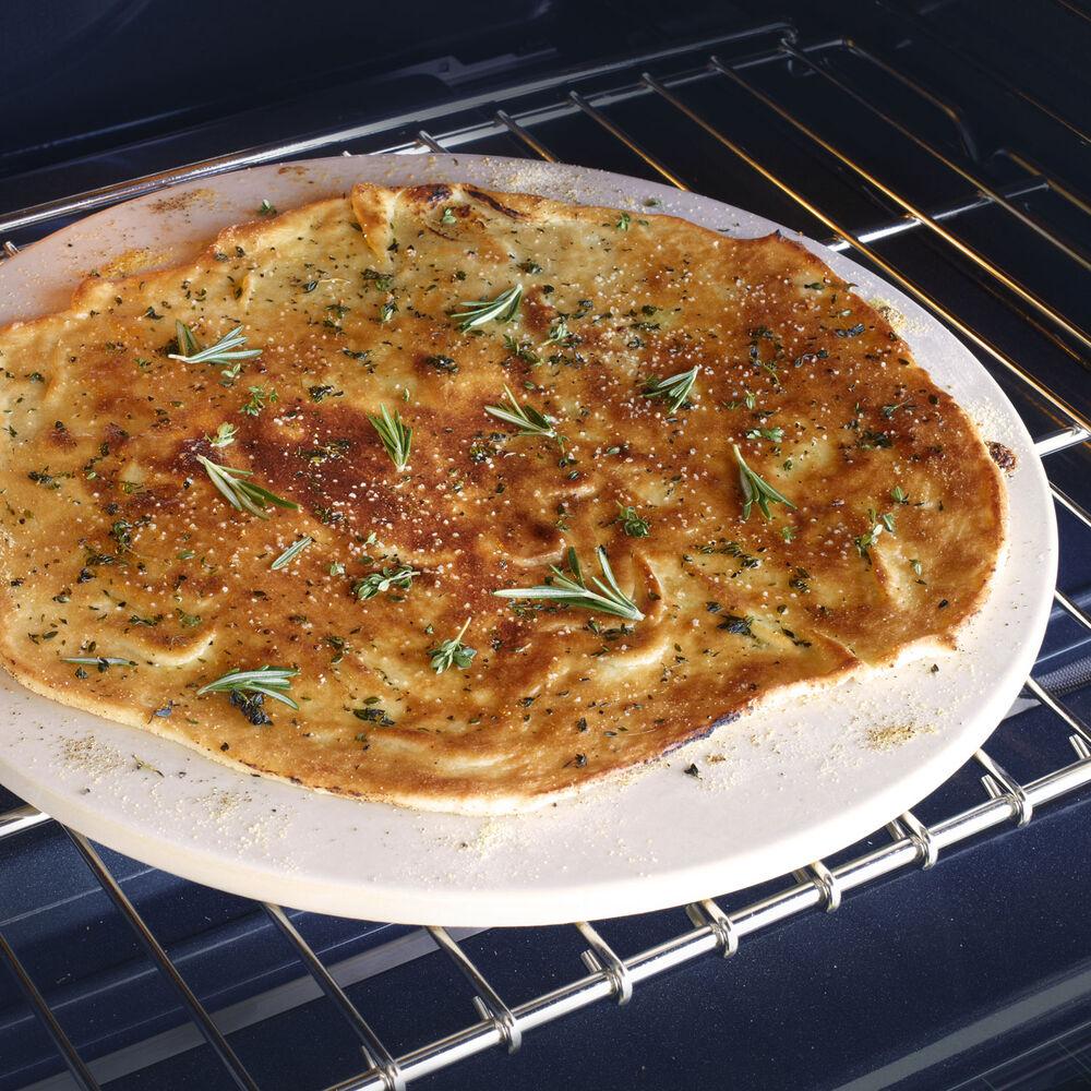 """Sur La Table Round Glazed-Cordierite Pizza Stone, 16½"""""""