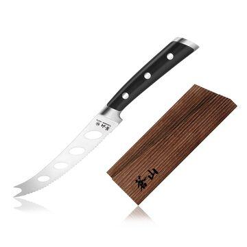 "Cangshan TS Series Swedish Sandvik Steel Forged Tomato/Cheese Knife & Wood Sheath Set, 5"""