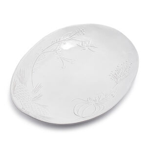 White Pumpkin Embossed Oval Platter
