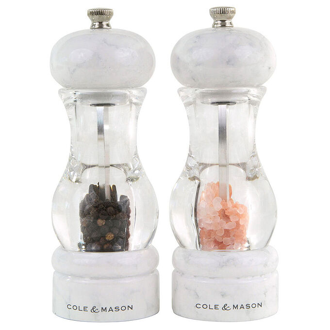 Cole & Mason Marble 105 Salt and Pepper Grinder Gift Set with Refills