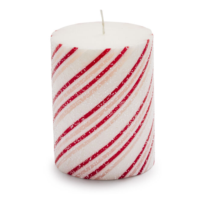 Peppermint Stripe Pillar Candles