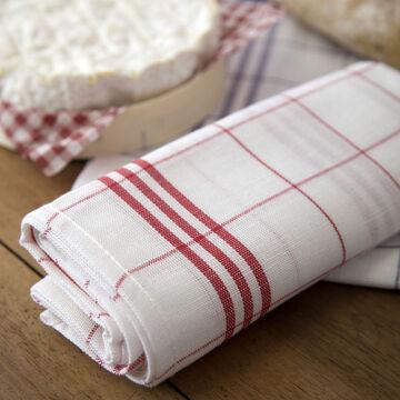 Tissage de L'Ouest Window Pane Red Towels, Set of 2