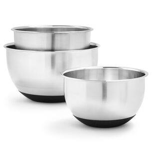 Non-Skid Stainless Steel Mixing Bowls, Set of 3