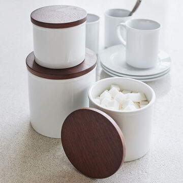 Porcelain Canister with Walnut Lid