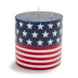 "3-Wick Flag Pillar Candle, 5"""