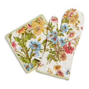 Wildflower Pot Holder and Oven Mitt by April Cornell, Set of 2