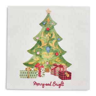 Christmas Tree Paper Cocktail Napkins, Set of 20