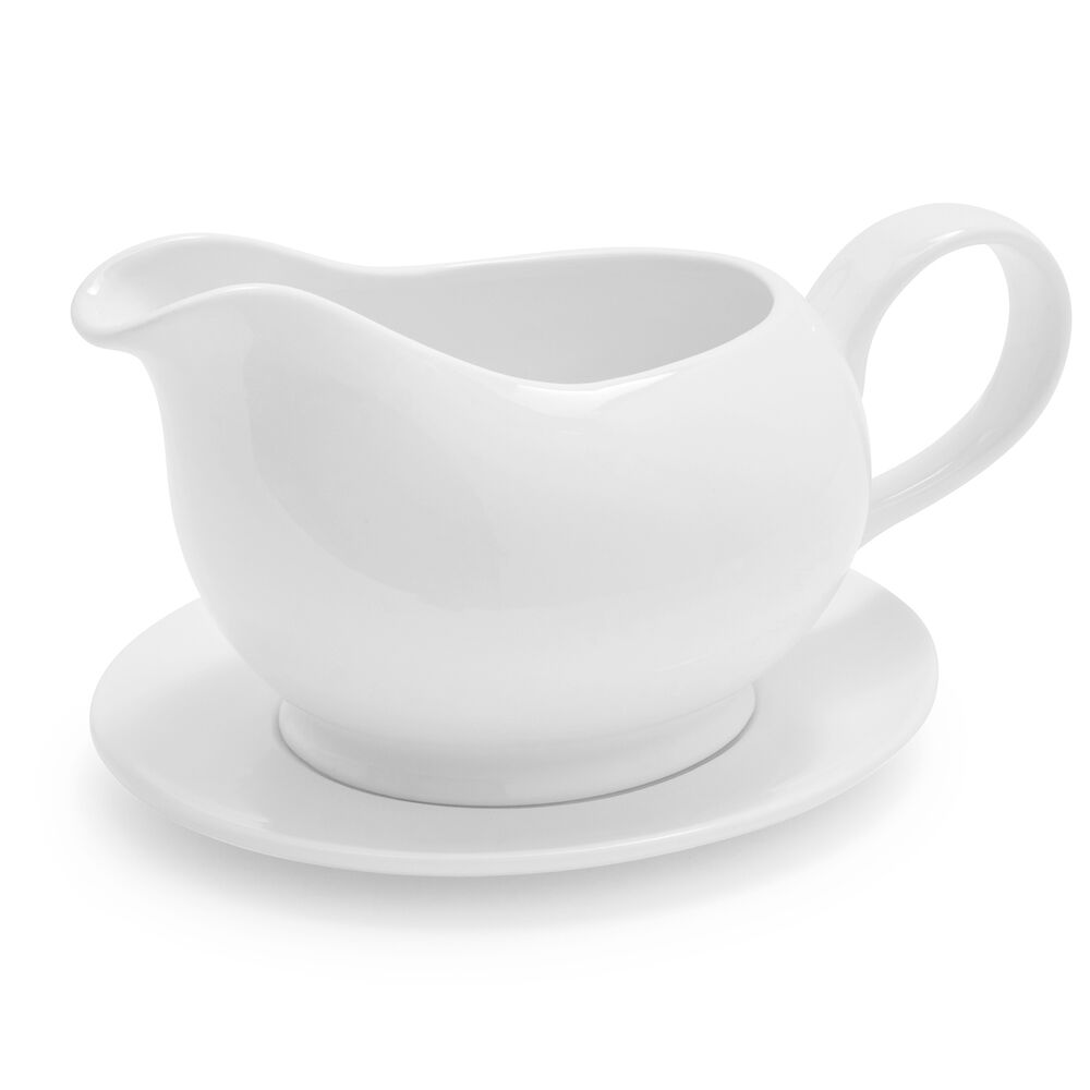 Porcelain Gravy Boat with Saucer