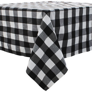 "Black & White Plaid Water-Resistant Tablecloth, 70"" x 108"""