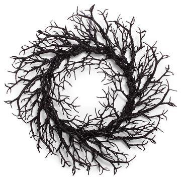 "Black Glitter Wreath, 21"""