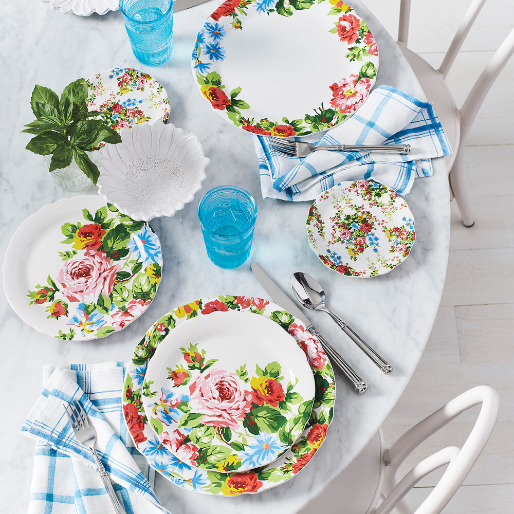 Rose Garden Appetizer Plates by April Cornell, Set of 4