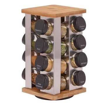 Kamenstein 16 Jar Warner Stainless Steel & Bamboo Revolving Spice Rack, Unfilled