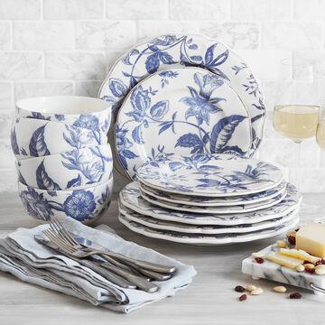 Italian Blue Floral 12-Piece Dinnerware Set