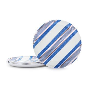 Pique-Nique Stripe Melamine Salad Plates, Set of 4