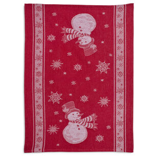 "Red Snowman Jacquard Kitchen Towel, 28"" x 20"""