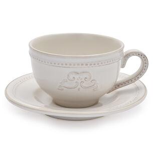 Pearl Stoneware Cappuccino Mug with Saucer