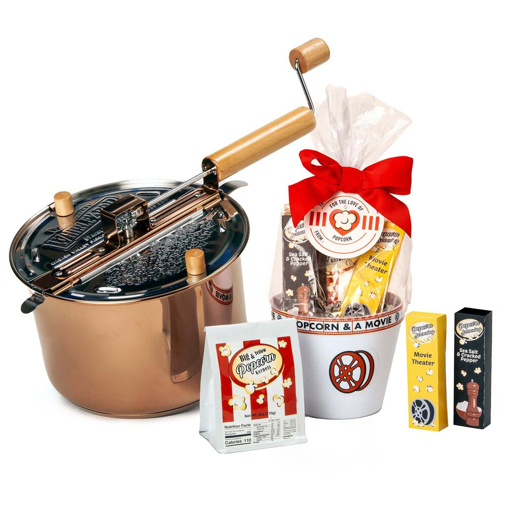 Copper Plated Stainless Steel Whirley Pop and Cello Popcorn Set